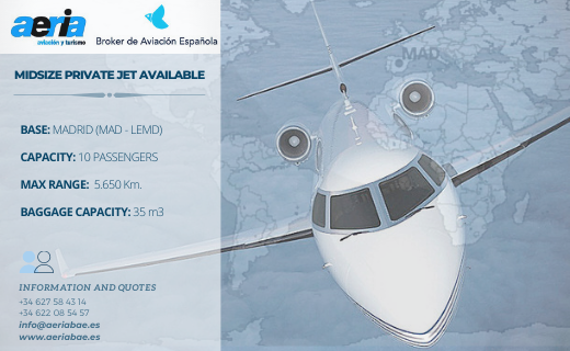 Midsize Private Jet Available – Madrid